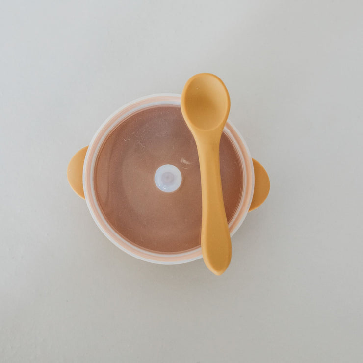 Silicone Bowl with Lid and Spoon - Honey