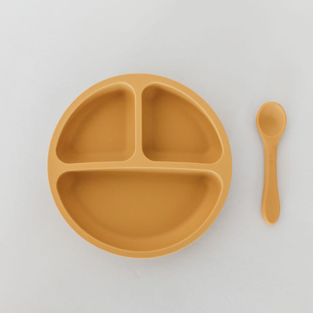 Silicone Suction Divided Plate with Spoon - Honey