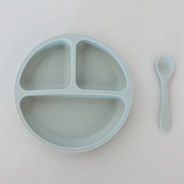 Silicone Suction Divided Plate with Spoon - Storm