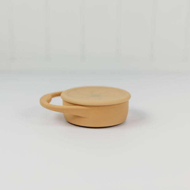 Silicone Snack Cup with Lid -collapsible - Honey