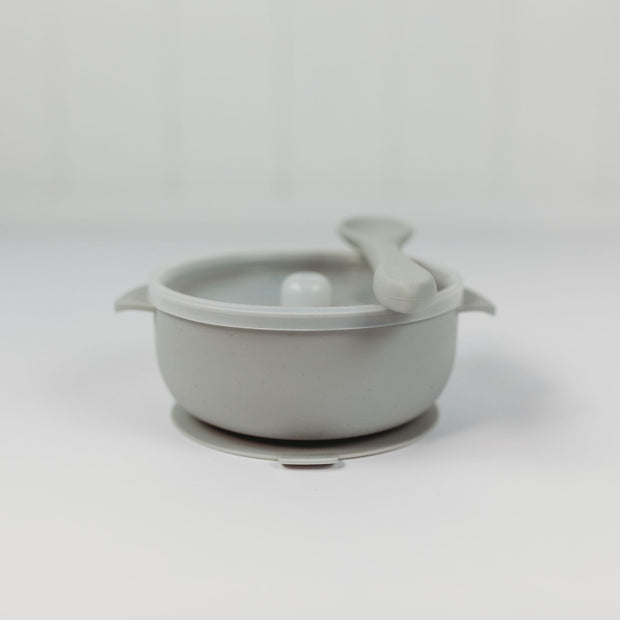 Silicone Bowl with Lid and Spoon - Sage