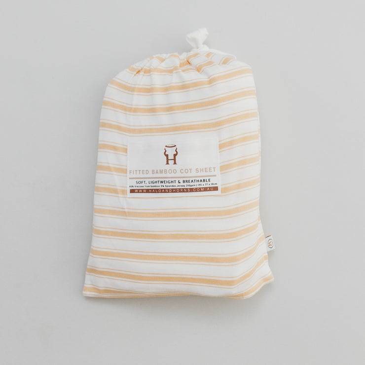 Cot Sheet - Bamboo Fitted - Wheat Stripe