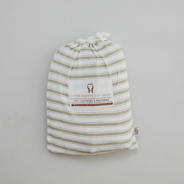 Cot Sheet - Bamboo Fitted - Sage Stripe
