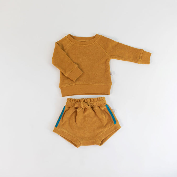 Shorties - Organic Terry - Retro Stripe Honey
