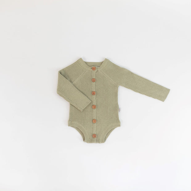 Onesie - Rib Knit - Long Sleeve - Sage