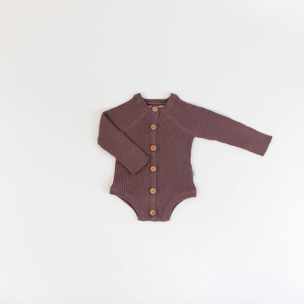 Onesie - Rib Knit - Long Sleeve - Mulberry