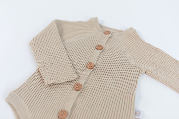 Onesie - Rib Knit - Long Sleeve - Oat