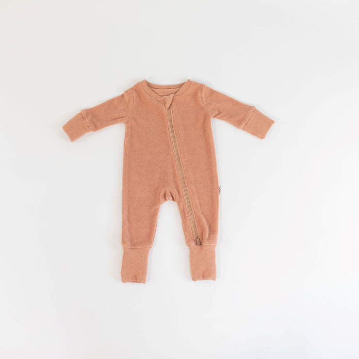 Zip Up Onesie - Organic Terry - Sirocco