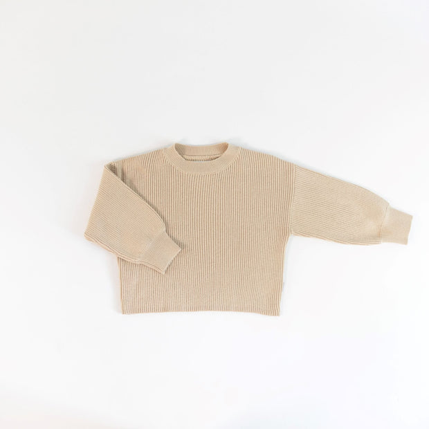 Rib Knit Sweater  - Organic Cotton Blend - Oat