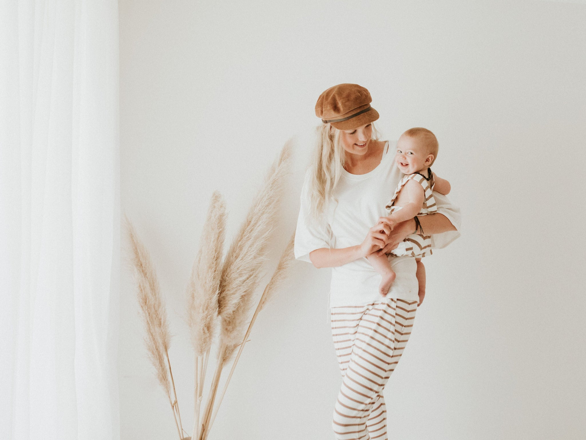 Woman - Slouchie Pant - BAMBOO - Toffee Stripe