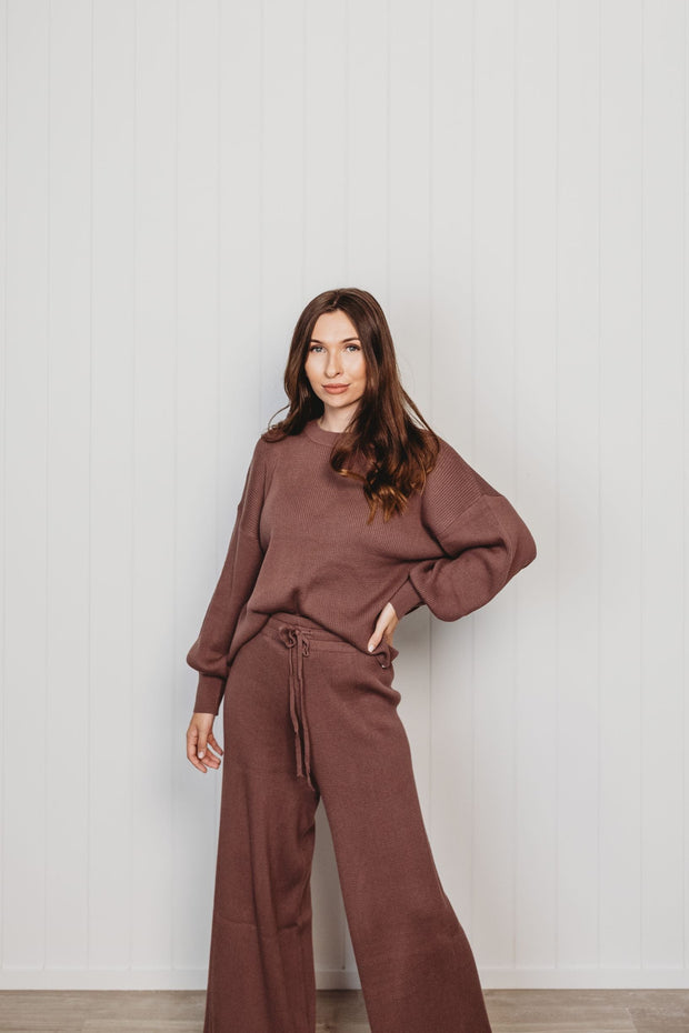 Woman - Organic Rib Knit Pants - Mulberry