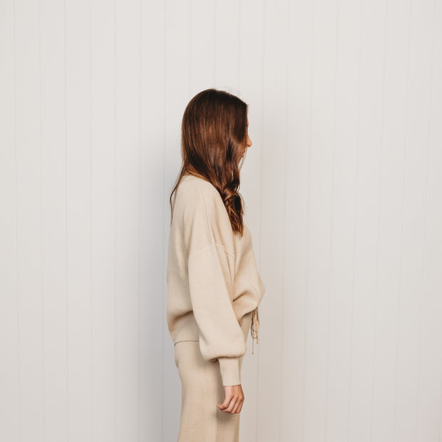 Woman - Organic Rib Knit Sweater - Oat