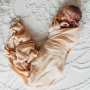 Baby Swaddle/Wrap - Organic Bamboo Muslin - Wheat