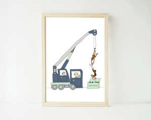 Hanging out crane print - personalized