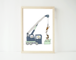 Hanging out - crane print