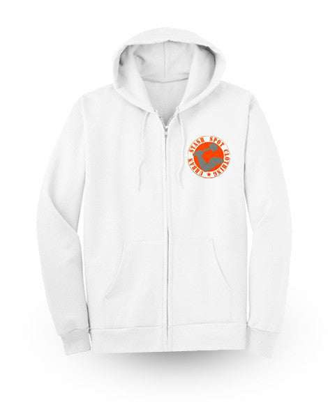 White Drippy Act Zipper Hoodie