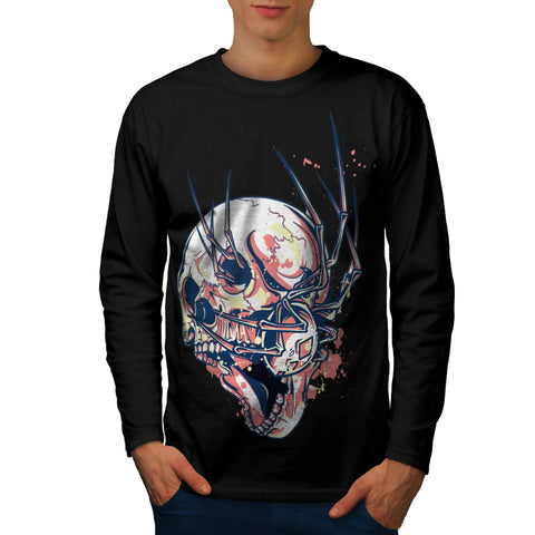 Crazy Spider Skull Mens Long Sleeve T-Shirt