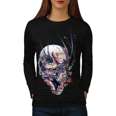 Crazy Spider Skull Womens Long Sleeve T-Shirt
