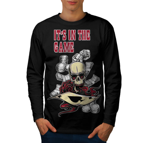 Casino Skull Card Mens Long Sleeve T-Shirt