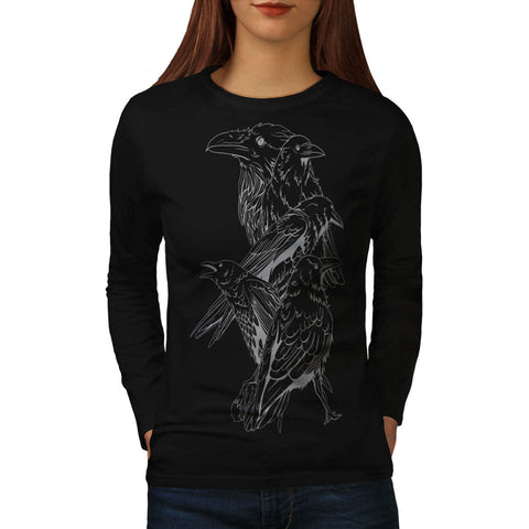 Four Scary Raven Womens Long Sleeve T-Shirt