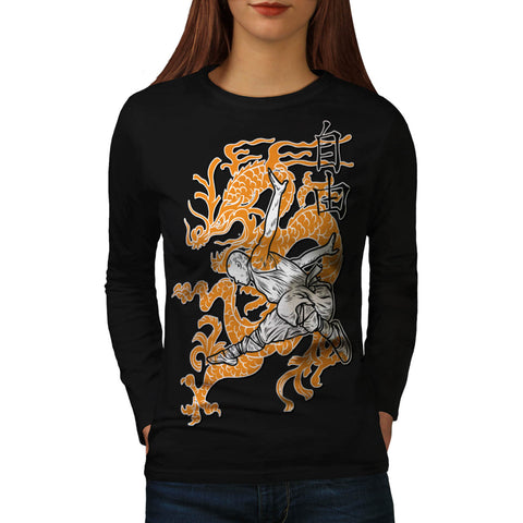 Ninja Dragon Battle Womens Long Sleeve T-Shirt