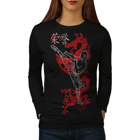 Ninja Dragon Warrior Womens Long Sleeve T-Shirt