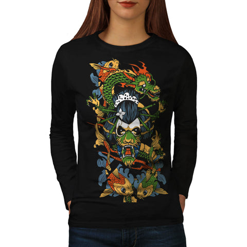 Scary Geisha Lady Womens Long Sleeve T-Shirt
