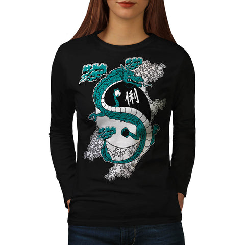 Oriental Dragon Love Womens Long Sleeve T-Shirt