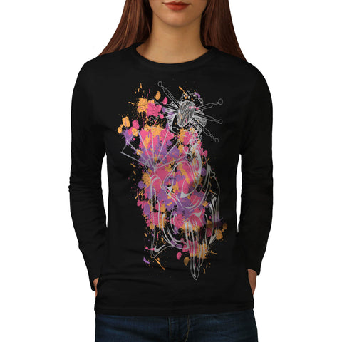 Japanese Geisha Lady Womens Long Sleeve T-Shirt