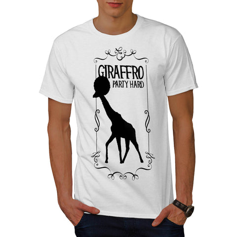 Giraffe Afro Party Mens T-Shirt