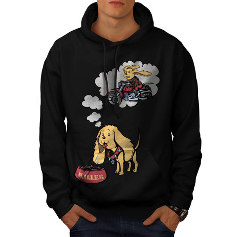Dog Thinking Biker Mens Hoodie