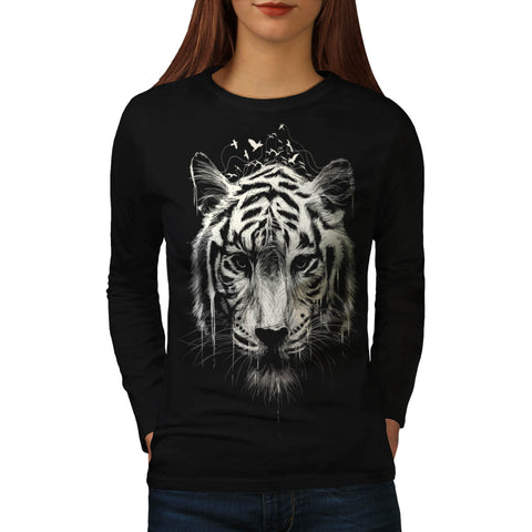 Bengal Tiger Face Womens Long Sleeve T-Shirt