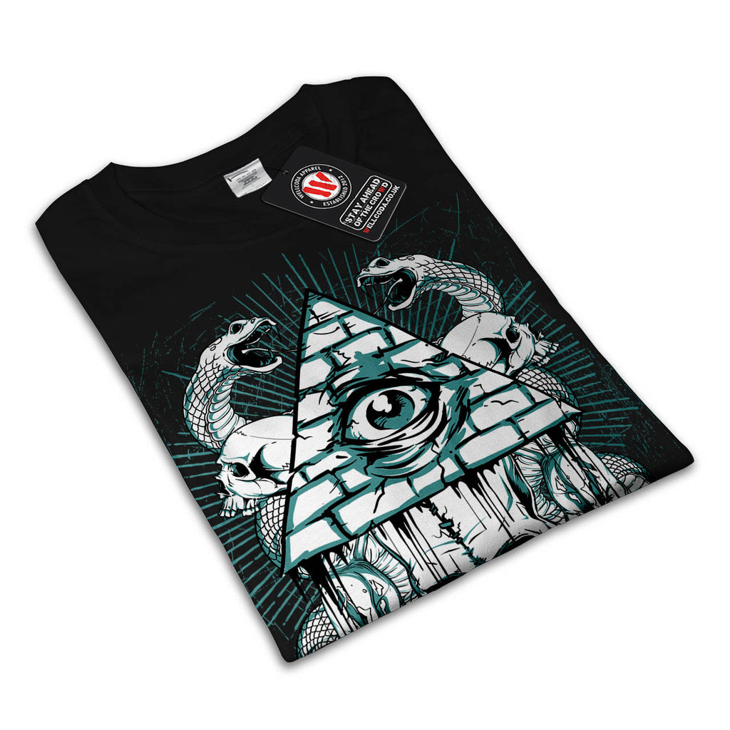 28b6adce Illuminati Snake Eye | Mens Black White Grey Red Royal Blue T-Shirt ...