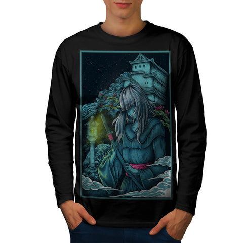 Samurai Girl Japan Mens Long Sleeve T-Shirt