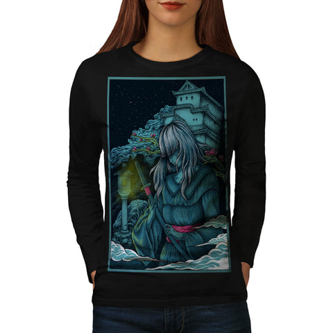 Samurai Girl Japan Womens Long Sleeve T-Shirt