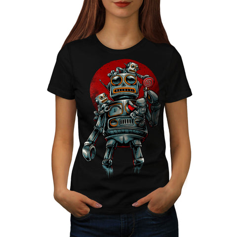 Crazy Robot Machine Womens T-Shirt