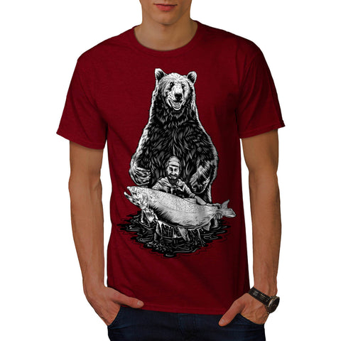 Fishing Bear Angler Mens T-Shirt