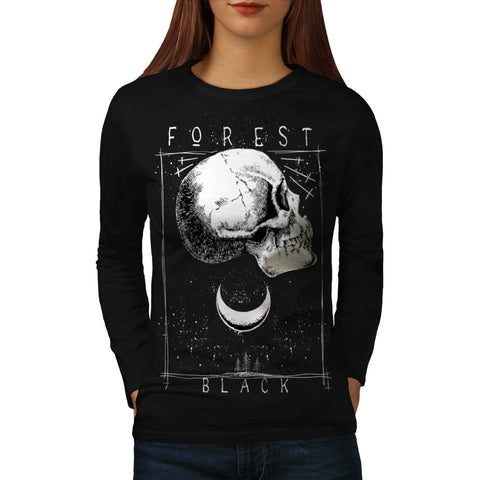 Forest Black Skull Womens Long Sleeve T-Shirt
