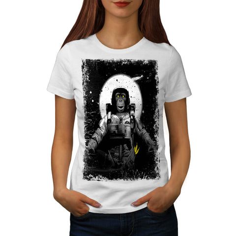 Space Monkey Moon Womens T-Shirt