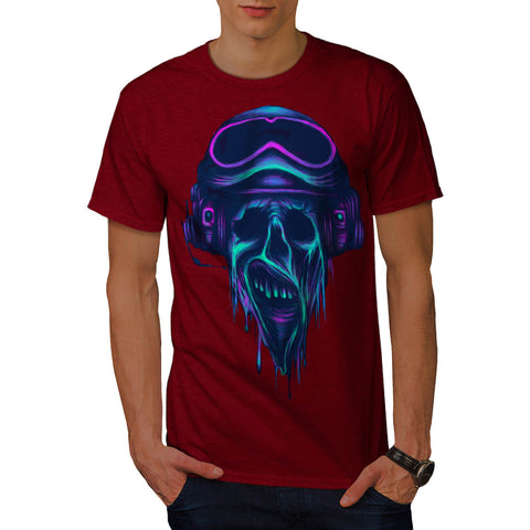 Horror Skull Pilot Mens T-Shirt