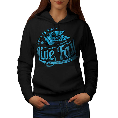 Born To Ride Biker Womens Hoodie