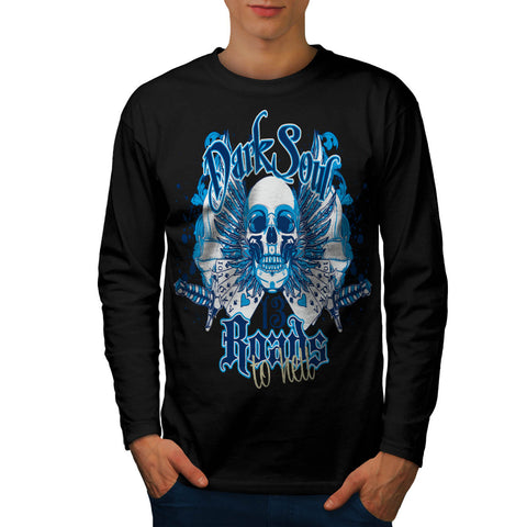 Road To Hell Skull Mens Long Sleeve T-Shirt