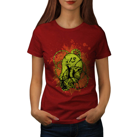 13 Evil Skull Barb Womens T-Shirt