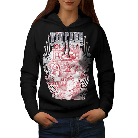 Red & Black Vintage Womens Hoodie