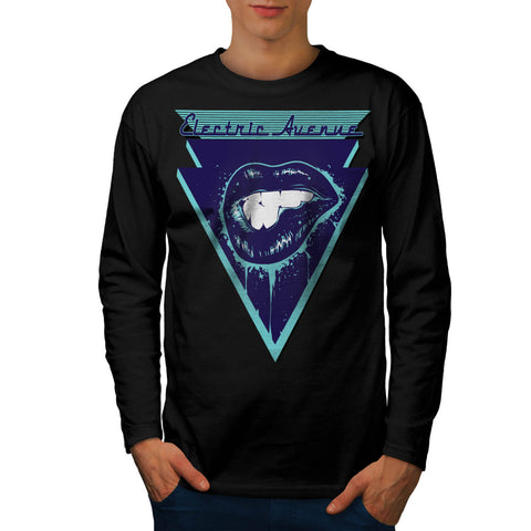 Electric Avenue Lips Mens Long Sleeve T-Shirt