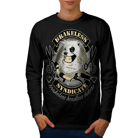 Evil Bull Dog Biker Mens Long Sleeve T-Shirt