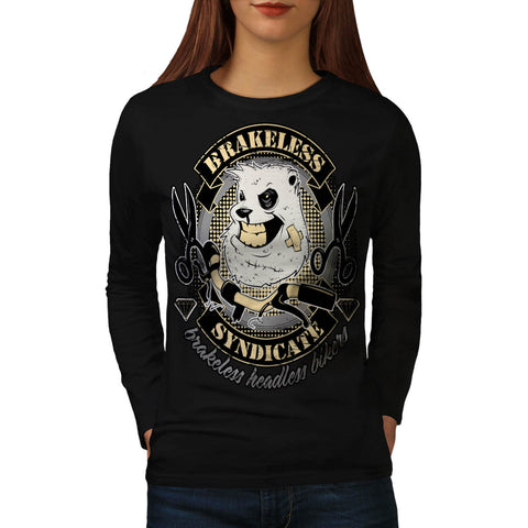 Evil Bull Dog Biker Womens Long Sleeve T-Shirt