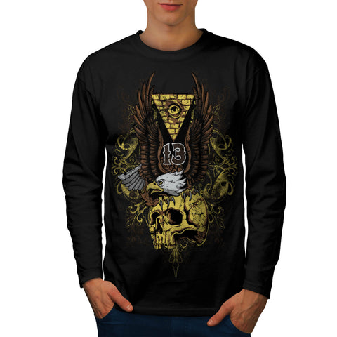 Evil Eagle Bird Skull Mens Long Sleeve T-Shirt