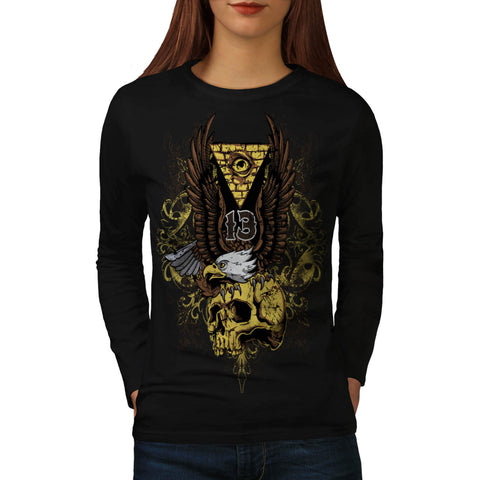 Evil Eagle Bird Skull Womens Long Sleeve T-Shirt