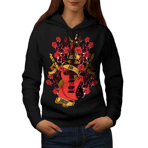 Roses and Guns Rock Womens Hoodie